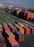 picture of shipping containers in a port