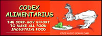 image of Dr. Seuss character looking suspiciously at a plate of green ham; feature story is CODEX ALIMENTARIUS - THE CORP-GOV EFFORT TO MAKE ALL FOOD INDUSTRIAL FOOD