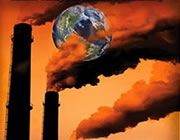 planet earth inundated with pollution from smokestacks