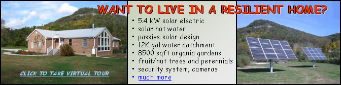 images of brick home and solar panels against backdrop of mountain - WANT TO LIVE IN A RESILIENT HOME? 5.4 kW solar electric; solar hot water; passive solar design; 12K gal water catchment; 8500 sqft organic gardens; fruit/nut trees and perennials; security system, cameras; more ... click to take virtual tour