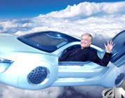 funny flying car video link; thumb of man waving from flying car