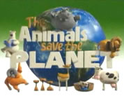 funny save the planet videos link; thumb of a group of animals hanging on different parts of a big sign that says THE ANIMALS SAVE THE PLANET
