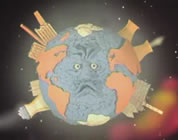 funny earth animation link; thumb of cartoon image of earth with face and buildings and smoke