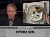 photo of bill maher next to plate of prescription drugs laid out like dinner; link for funny video; opens in new window