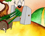 cartoon image of Roman chariot with square wheels; click to go to animation page at external site; opens in new window