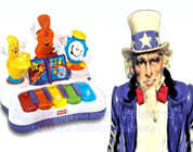funny chinese products video link; thumb of cartoon Uncle Sam with some Chinese plastic toys