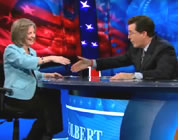 funny coal mining video link; thumb of Margaret Palmer and Stephen Colbert on set