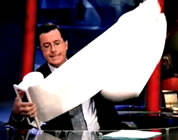 stephen colbert using a ridiculous number of paper towels; link for funny video; opens in new window