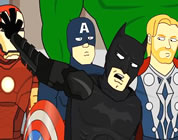 funny Batman/Avengers video link; thumb of Batman with a few of the Avenger characters