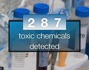video on chemical body burden link; thumb of '287 chemicals detected' with test tubes in background