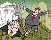 cartoon image of corporate executives dancing on a huge pile of taxpayer cash in front of the Federal Reserve building; click to go to animation page at external site; opens in new window