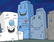 funny corporate personhood video link; thumb of animated corporate headquarters buildings