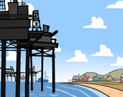 cartoon of coastal oil wells; click to go to animation page at external site; opens in new window