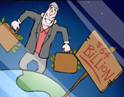 funny corporate profits video link; thumb of businessman with suitcase full of cash dancing on planet earth
