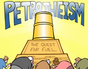 graphic image of people worshiping at the altar of 'petrotheism'; click to go to animation page at external site; opens in new window