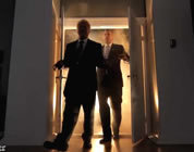 funny president video link; thumb of backlit image of ex-presidents walking through doors of President Obama's bedroom