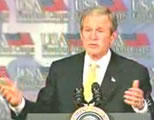 Bush at lectern; click to go to video page at external site; opens in new window