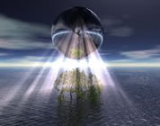 free 2012 movie documentary link; thumb of light-drenched image of earth hovering over tree on small ocean island