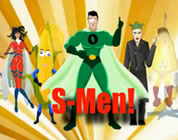 funny science parody link; thumb of S-men, fake superheroes