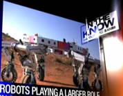 news screen photo of multi-wheeled robot; click to go to video page at external site; opens in new window