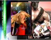 funny pop star video link; thumb of collage of Miley Cyrus and futuristic cyborg holding her CDs