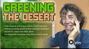Greening the Desert graphic, with photo of Geoff Lawton