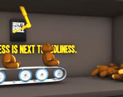 video on infinite growth link; thumb of teddy bears being assembled on a conveyor belt