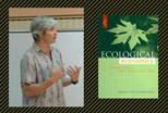 photo of joshua farley speaking; image of book titled Ecological Economics; click to see animation/video at external site; opens in new window