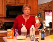 natural cleaning products video link; thumb of woman with natural cleaning substances