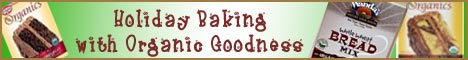 text says 'holiday baking with organic goodness'; pics are of organic baking mixes ... click to to to Amazon.com; opens in new window