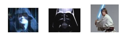 Pics of characters from Star Wars - Emperor, Darth Vader, Luke Skywalker